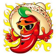 Illustration of cartoon red hot peper