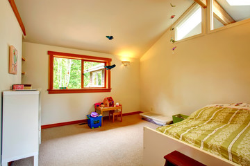 Beautiful kids room with high ceiling
