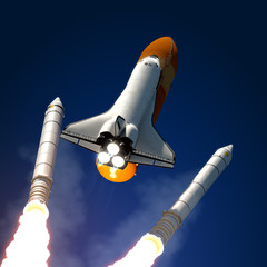 Fotobehang - Solid Rocket Boosters Separation.