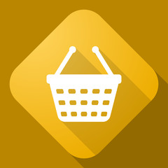 Vector icon of Shopping cart with a long shadow