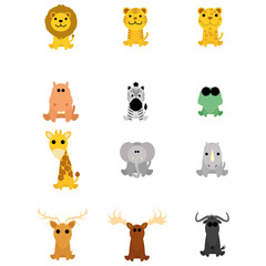 Set Of Different Cartoon Adorable Animals Isolated