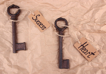 Keys to happiness, Conceptual photo. On color background