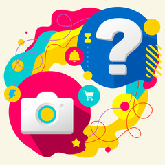 Photo camera and question mark on abstract colorful splashes bac