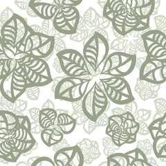 vector seamless pattern, abstract flowers
