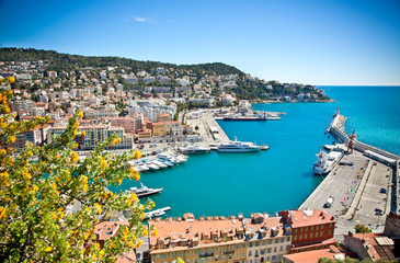 Foto op Canvas Nice Panoramic view of Nice harbour, France.