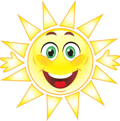 Векторное солнце улыбается