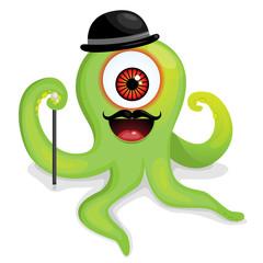 Elegant hipster octopus monster