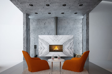Home interior with fireplace