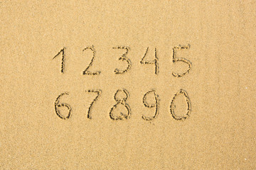 Numbers written on a sandy beach.