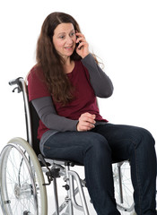 disabled woman is calling
