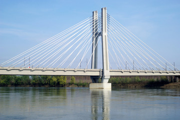 Cable stayed bridge across river Po in Northern Italy