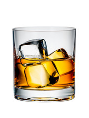 Wall Mural - whiskey with ice on a white background