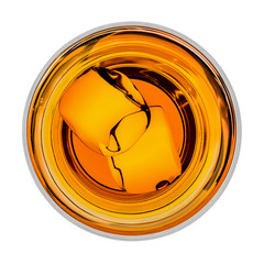 Wall Mural - Whiskey with ice in glass from top