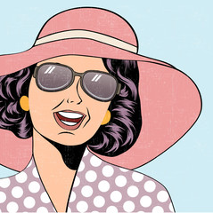 popart retro woman with sun hat in comics style, summer illustra