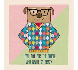 cool dog hipster, hand draw illustration