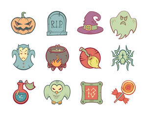 Halloween Icons Set. Isolated. Colored.