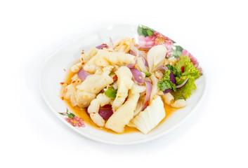 Spicy feet chicken salad on white background