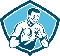 Rugby Player Running Ball Shield Cartoon