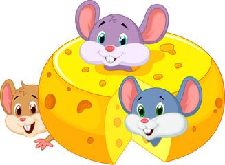 Cartoon mouse hiding inside cheddar cheese