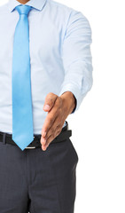 Midsection Of Businessman Gesturing Handshake