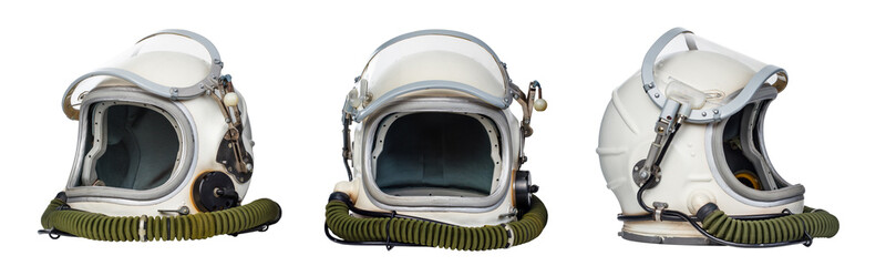 Set of space helmets isolated on a white background.