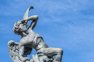 The Fountain of the Fallen Angel in Madrid, Spain.