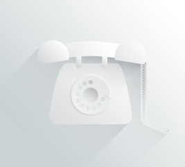White and grey dial phone in simple design