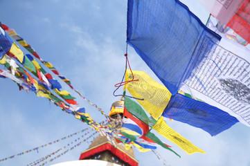 Tibetan flags in Boudhanath Stupa, Nepal