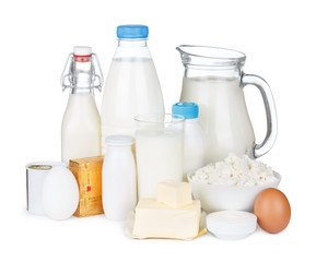 Dairy products assortment isolated on white background