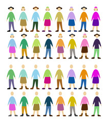 set of color people, community