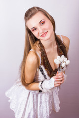 Portrait of beautiful young brown-haired woman