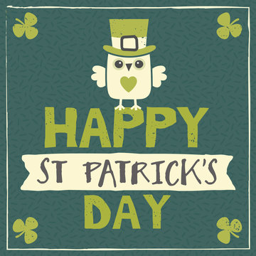 st patricks day card with leprechaun owl
