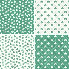 set of seamless green shamrock leaf patterns