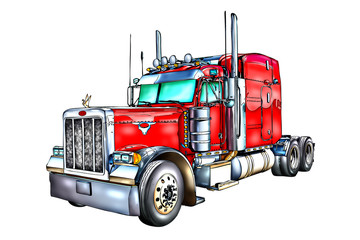 red truck illustration color isolated art