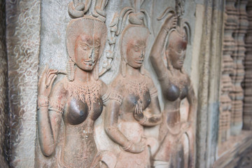 Apsara on the wall in Angkor Wat, Siem Reap, Cambodia