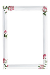 Old decoupage frame with flowers, clipping path included