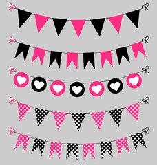 Bunting set pink and black for scrapbook