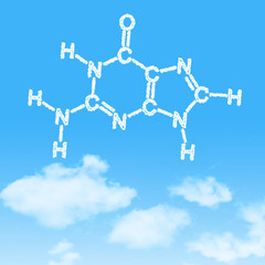 Hexagon dna cloud icon with design on blue sky background