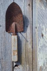 Rusty trowel garden art
