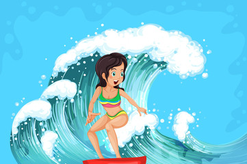 A brave girl surfing