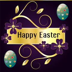 Biglietto di buona Pasqua con uova e fiori