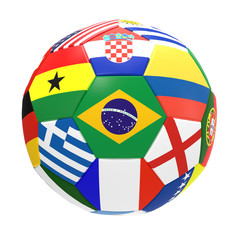 3D render of football with flags