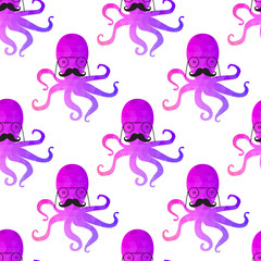 seamless pattern with octopus . Colorful mosaic backdrop. backgr