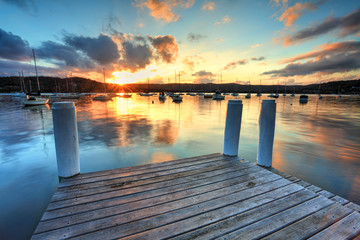 Sunset at Point Frederocl wharf Australia Wall mural