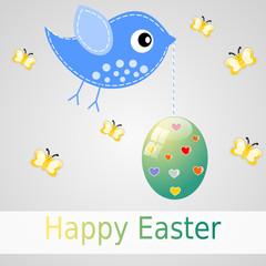 Immagine Pasquale con uccello e uovo
