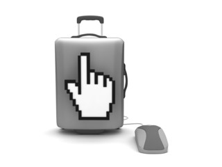 Travel bag, computer mouse and cursor hand on white background