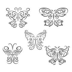 Set decorative beautiful, graphically butterflies