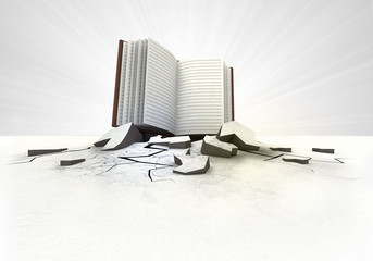 open book stuck into ground with flare concept