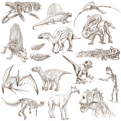 Dinosaurs no.2 - illustrations, full sized hand drawn set
