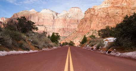 Road Through High Mountain Buttes Zion National Park Desert SW